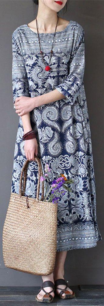 US$19.68 Gracila Vintage 3/4 Sleeve Ethnic Printed Long Maxi Women Dresses