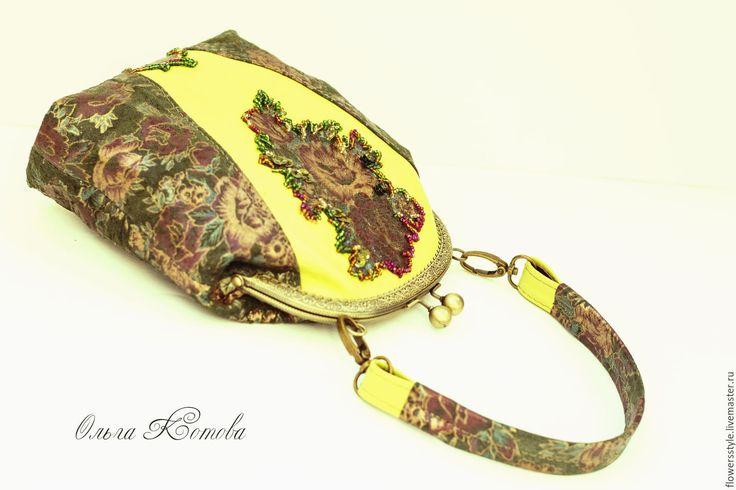Купить Сумочка с фермуаром Аромат весны Женская кожаная сумка вышитая бисером - тёмно-зелёный