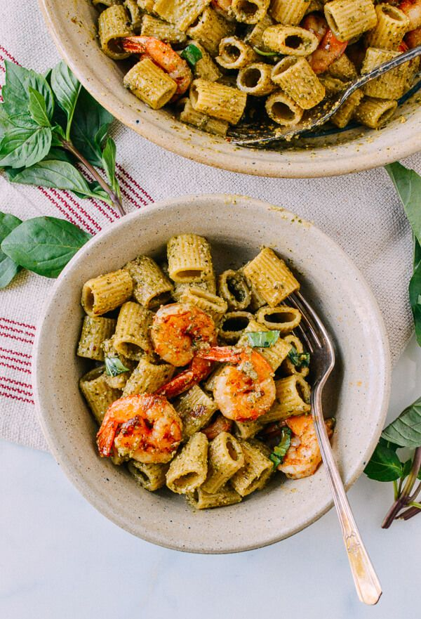 Thai basil pesto pasta recipe is a different take on a classic Italian pesto. Using Thai basil and served with spicy seared shrimp, this is so easy to make.
