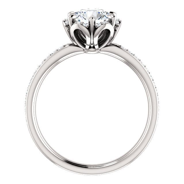 New Vintage Style Floral 14k White Gold Engagement Ring Bridal Semi-Mount .17ct Round Brilliant Natural Diamonds G-H SI 2-3 Wedding Ring