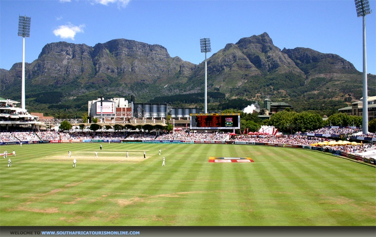 View of Table Mountain from Newlands cricket ground, Cape Town, SA (via southafricatourismonline.com)