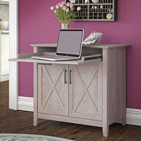 Key West Washed Gray 2-Door Laptop Storage Desk Credenza - #34W09 | Lamps Plus