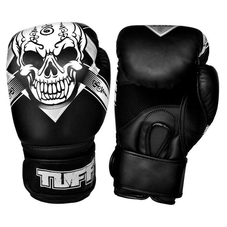 SKULL Thai Boxing Gloves Black Kids Muay Thai Gloves 8 oz - 16 oz Leather Women #TuffSport