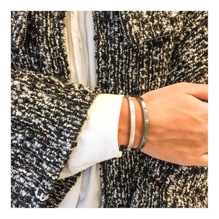 Wear our silver and rhodinated screw bracelets to match the grey tines in our autumn wardrobe >> http://www.janekoenig.com/bracelet.html
