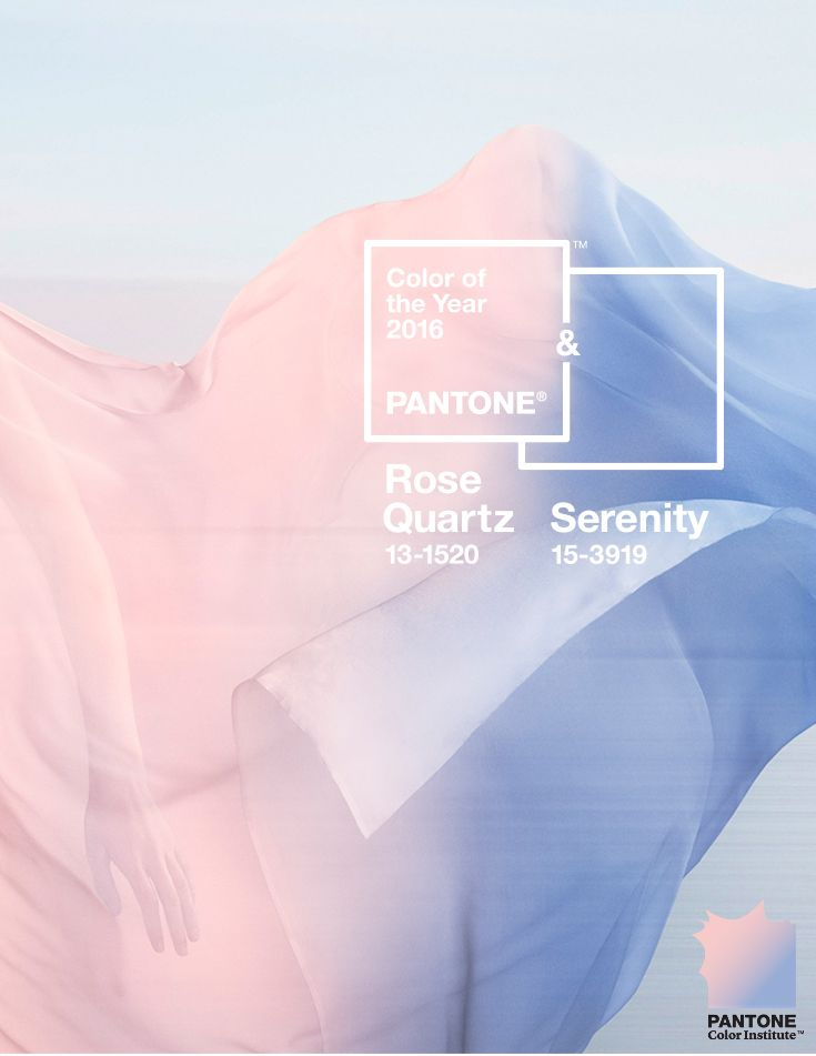 Les couleurs de l'année Pantone : Rose Quartz et Bleu Sérénité ! The Pantone #ColoroftheYear for 2016 is #RoseQuartz & #Serenity, inviting shades that embody a mindset of tranquility and inner peace.