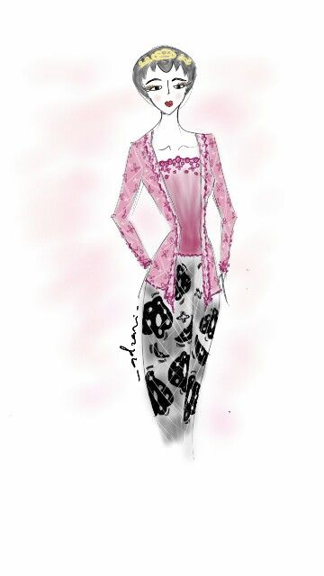 Magenta Javanese Traditional Kebaya by Adzani A Ameridyani // sketch / indonesia / fashion design