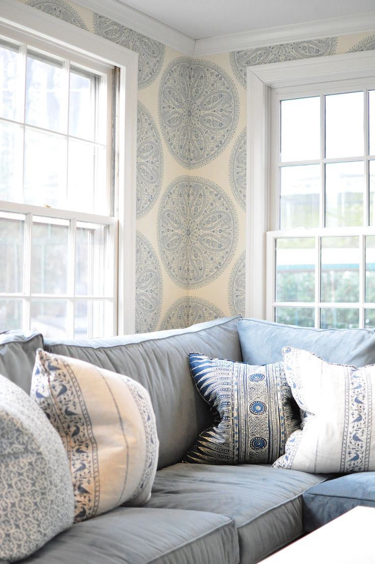 Blue and white bedroom - Family Room By Deepdale House Llc Blue And White Upholstered Walls