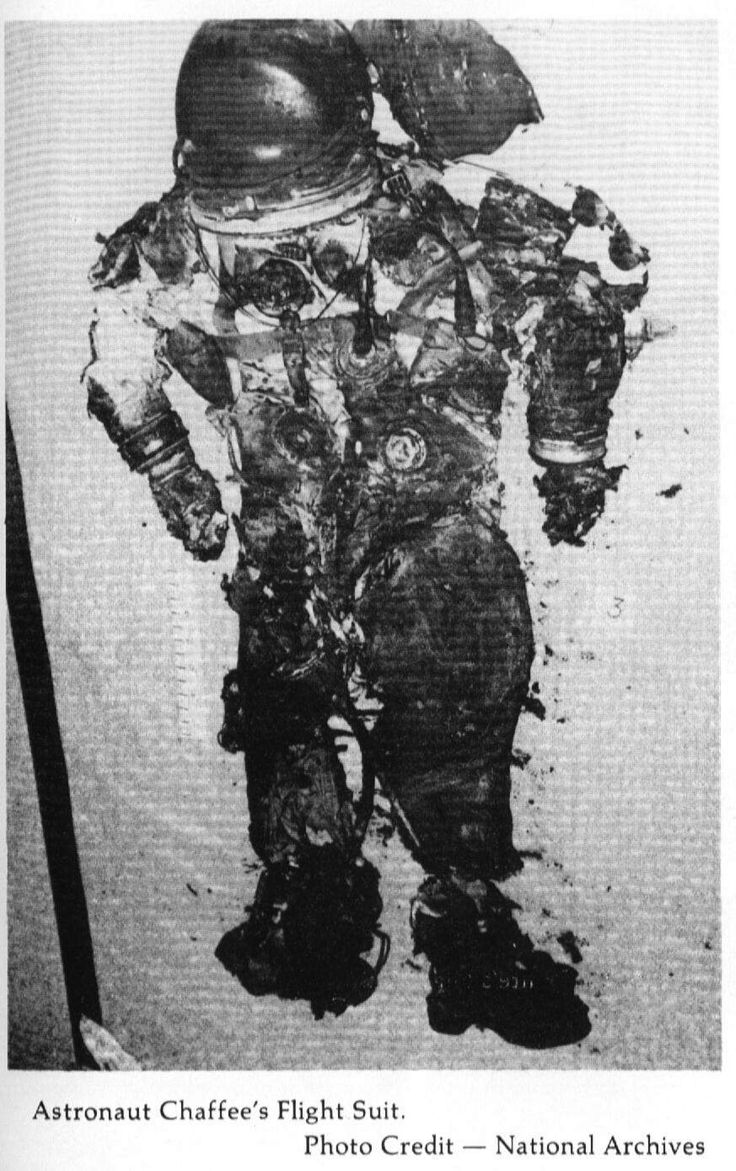 Astronaut Chaffee's spacesuit or what remained of it.