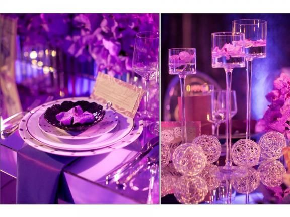 Tall candle holders filled with petals are a beautiful table decoration for any occasion