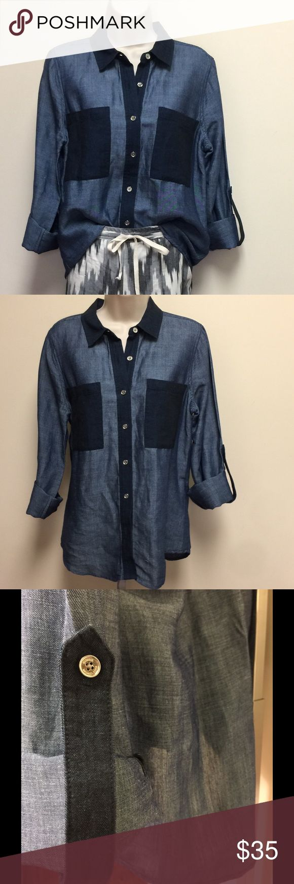 2 Tone Dark Wash Dressy Denim Button Down Top Dresses up or down really well, perfect condition, worn twice, thinner than most Denim, a bit shiny, unique for a very versatile Denim button down! MICHAEL Michael Kors Tops Button Down Shirts