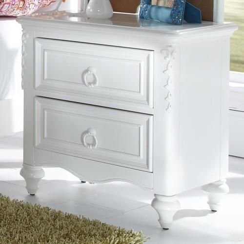 Inspired and designed for the young princess, this nightstand is a fairytale come true. Soft feminine curves with delicate ribbon and floral scrollwork create an atmosphere that cultivates the fanciful imagination of a little girl.  White victorian finish on select veneers and hardwood solids, and crystal style hardware adds a touch of sparkle. Kid friendly safe and durable finishes for kids active lifestyles.