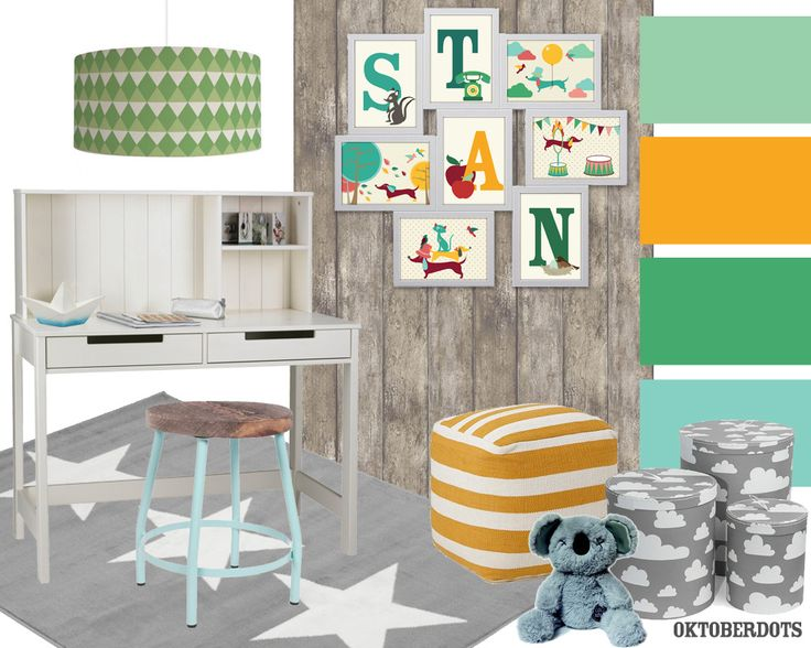 Very cool kidsroom or studyroom collage with colorscheme