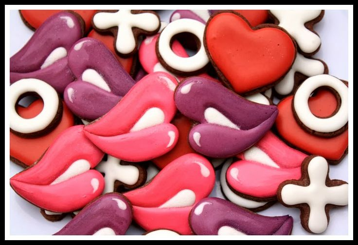 Valentine Lips Valentine Cookies Pinterest Kissing