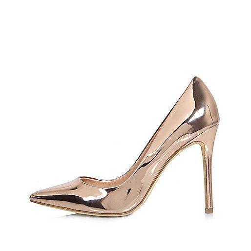 Rose gold patent court heels
