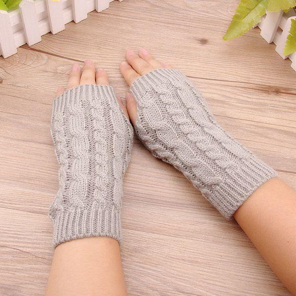 Women Stylish Hand Warmer Winter Gloves Arm Crochet Knitting Warm Fingerless Gloves