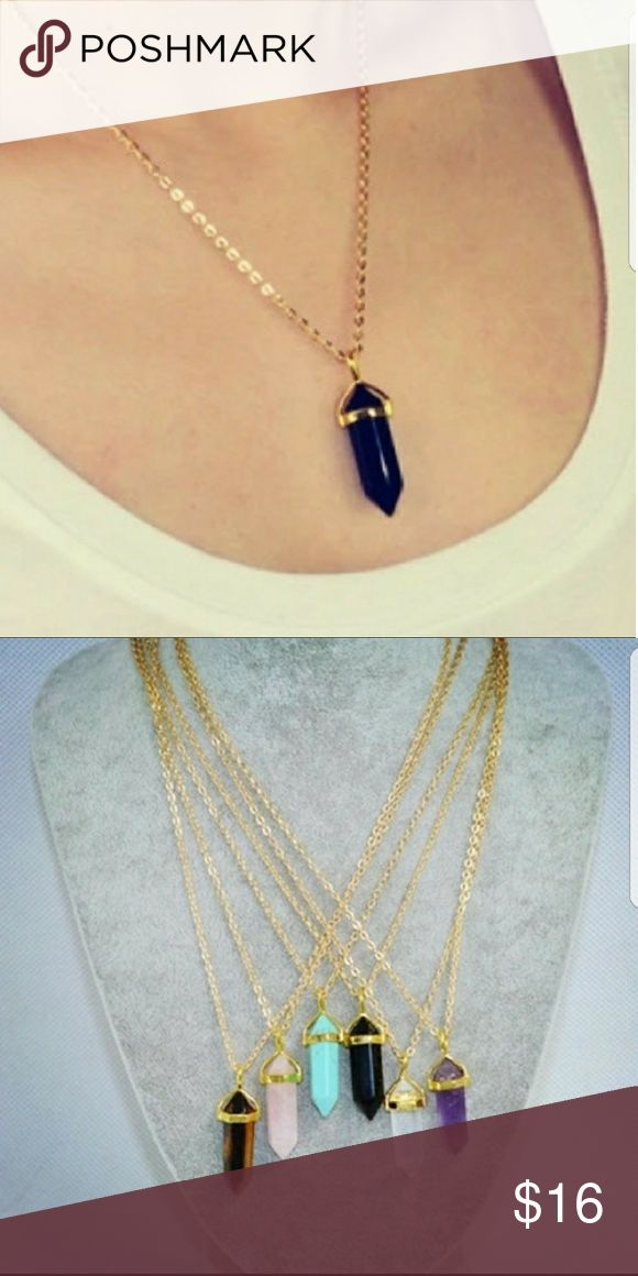 5 for $25  Black Crust Pendant Necklace Beautiful black color crystal Pendant necklace with gold color chain Jewelry Necklaces