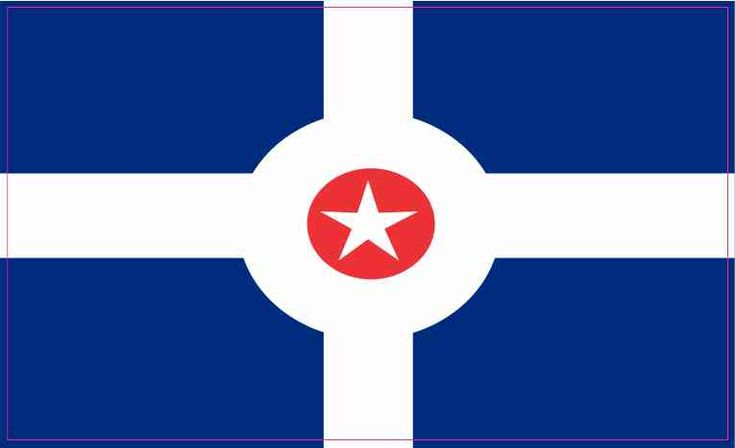 5in X 3in Indianapolis Indiana Flag Sticker Vinyl State Flag Decal Stickers