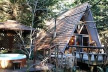 Cabin in Ashford, United States. Serenity Cabin is close to Mount Rainier National Park, Nisqually/SouthWest Entrance. Paradise, Longmire area. You'll love my place because it is a genuine A-Frame Cedar Cabin in the Woods with a private hot tub! Very unique and original! Wood St...