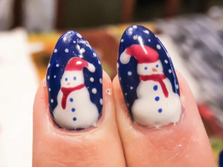 Nails, fatte da me...idee natalizie, unghie gel...pupazzi di neve ⛄️ snowman
