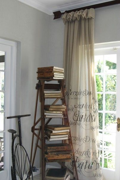 How to Decorate with Vintage Ladders {20 Ways to Inspire}... And I love those curtains!