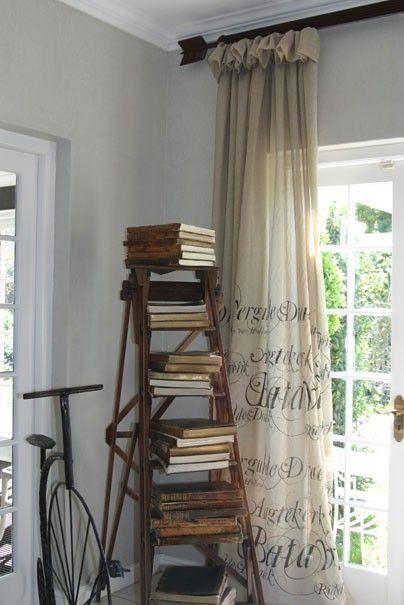 LadderDecor, Ideas, Bookshelves, Vintage Ladders, Vintage Book, Curtains Rods, Book Storage, Book Shelves, Windows Treatments