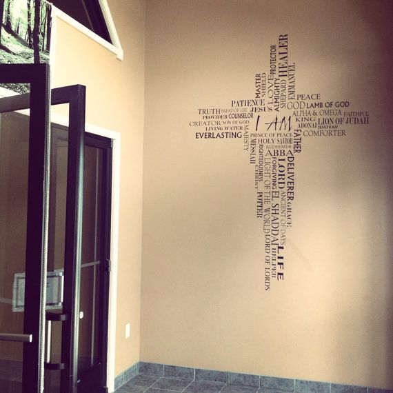 NAMES OF GOD in cross form wall wording. You choose a size!!  Vinyl wall words only. Comes in a variety of colors. Black, Brown, White, Pink, Lt Pink, Lilac, Key Lime Green, Sage & Banana. Colors available not pictured are Gray, Storm Gray, Navy and Red.  Included with your wall words is a plastic application squeegee and instructions. ***Design comes in 2 main pieces to be placed on the wall and will fit together like a puzzle. On the larger sizes, there will be only a small handful of…