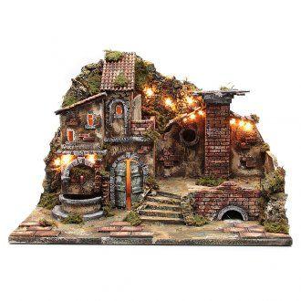 Pueblo iluminado con fuente pesebre | venta online en HOLYART