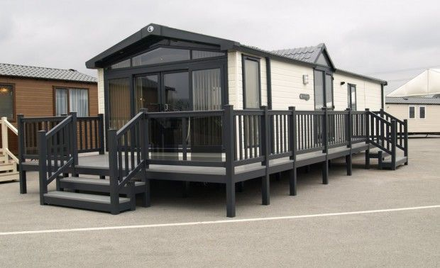 Fensys decking being exhibited alongside Swift holiday home at Swift Groups head office
