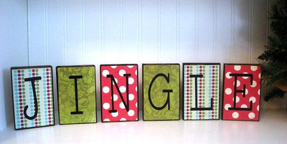 """Decorate with Fun and Retro Christmas wood blocks that say """"Jingle"""""""