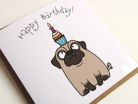 Happy Birthday Confused Pug Cupcake Greeting Card by Pugsnkissesuk