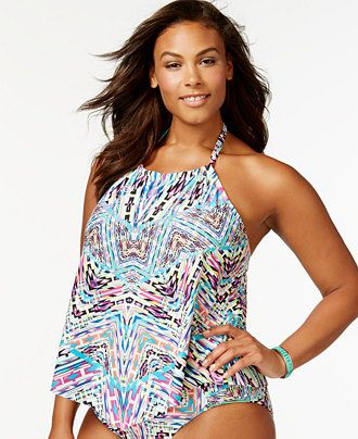 Kenneth Cole Reaction Plus Size Printed Tankini Top - Swimwear - Plus Sizes - Macy's