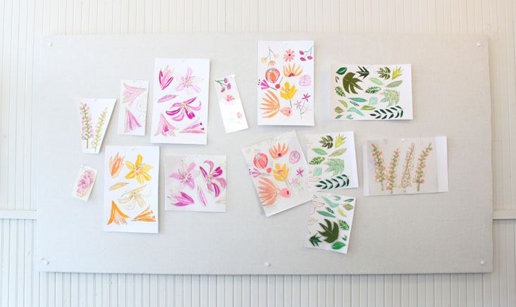 Pattern sketches by Lulie Wallace via http://www.stitchdesignco.com/Stitches Design, Lully Wallace, Luli Wallace Textiles