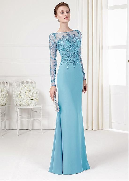 Gorgeous Tulle & Chiffon Bateau Neckline Sheath Evening Dresses With Beads & Sequins