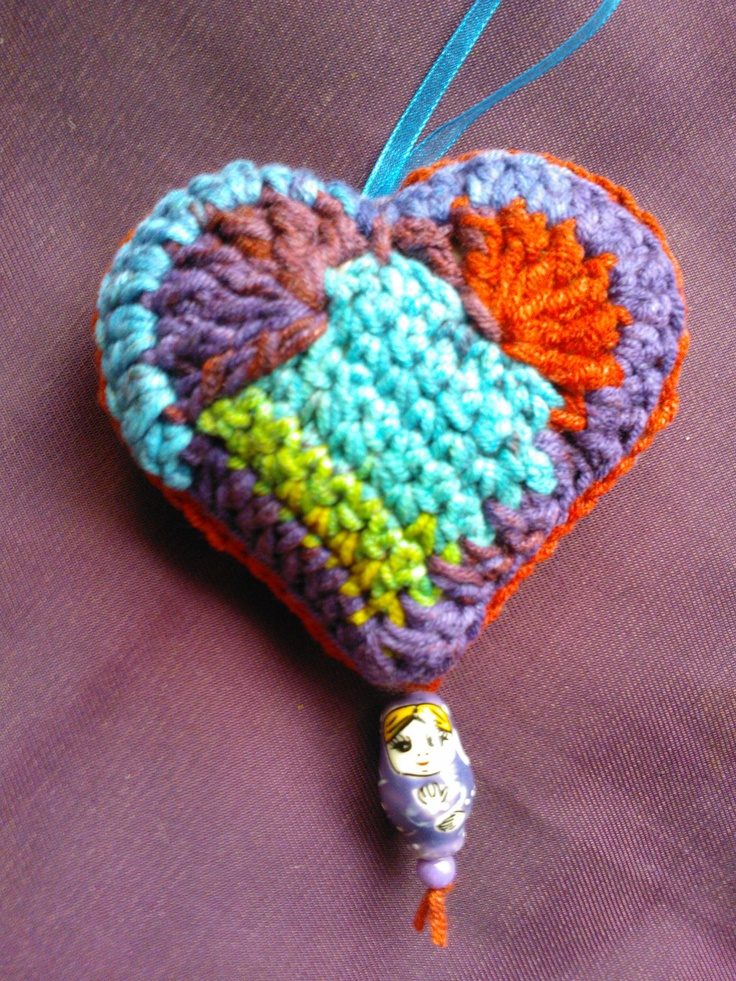 Lavender stuffed crochet heart Crochet Hearts and ...