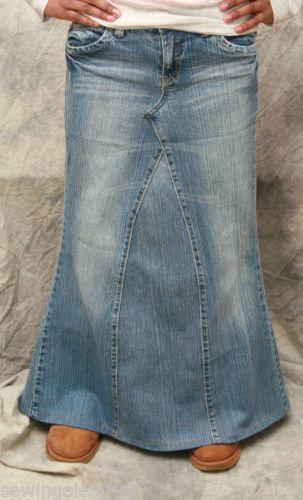 Custom Girls Long Denim Skirt Recycled Converted Jeans Sizes 4 16 | eBay