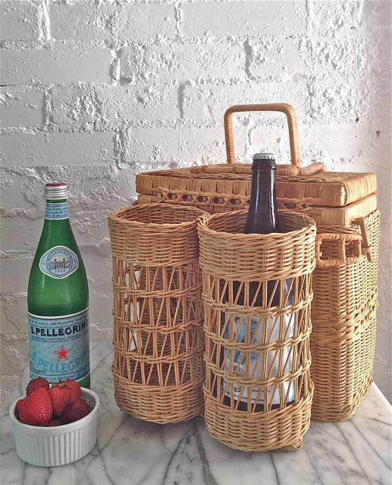 Vintage Wicker Picnic Basket / Wine Carrier  by VintageMomentsShop, $23.00