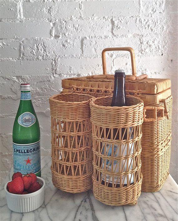 Vintage Wicker Picnic Basket / Wine Carrier  by VintageMomentsShop, $23.00