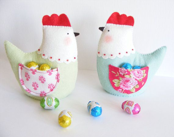 PDF pattern - Easter hen with pocket - easy sewing pattern, DIY spring / Easter home decor, felt and fabric