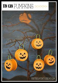 fall decor tin can pumpkins pet food upcycle, halloween decorations, painting, repurposing upcycling, seasonal holiday decor, Happy Halloween