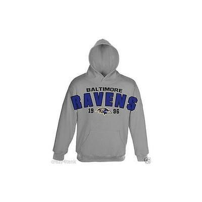 Nfl Team Apparel Boy's Fleece Hoodie- Grey/Baltimore Ravens, Size: Xtra Large
