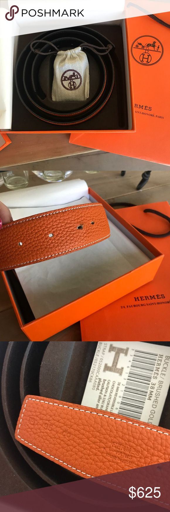 """Hermes Constance belt 95 chocolate/orange Size 95 Hermes Constance belt in chocolate/orange with brushes gold """"H"""" belt buckle . Item is like new with just a little bit of wear in belt hole which is pictured. Only been worn a handful of times Hermes Accessories Belts"""