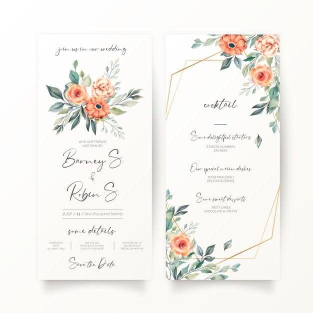 Download Floral Wedding Invitation And Menu Template For Free Floral Wedding Invitations Wedding Invitations Wedding Cards