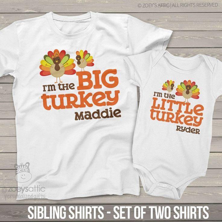 Thanksgiving big turkey little turkey sibling shirt set