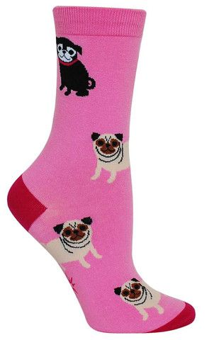 Pink Pugs Colorful Animal Novelty Socks for Women