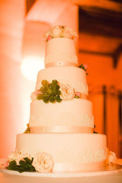 Pièce montée 2017  Succulents Roses Rubans   Gâteau de mariage à 4 étages   Christine Dahl