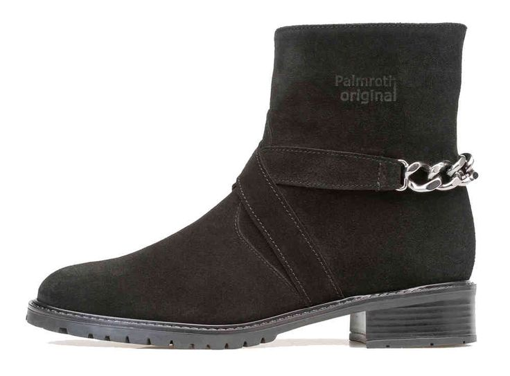 Palmroth ankle boot with chain black suede - Palmroth Shop