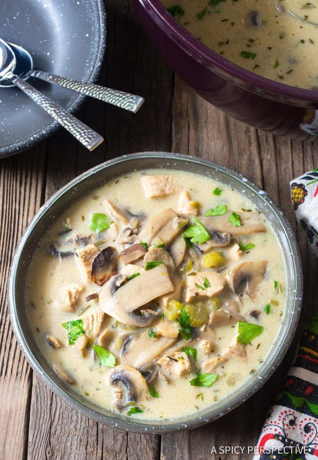 Low Carb Creamy Chicken Mushroom Soup Recipe Aip Gf Paleo