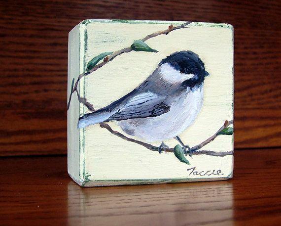 Black Capped Chickadee Bird Painting / Original Oil Painting on Wood Block / Wildlife Art/ Miniature Art / Small Painting / Mini Painting