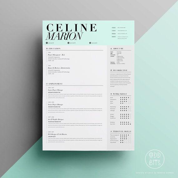 Resume CV Design Template  Cover Letter  Instant par OddBitsStudio, $18.80