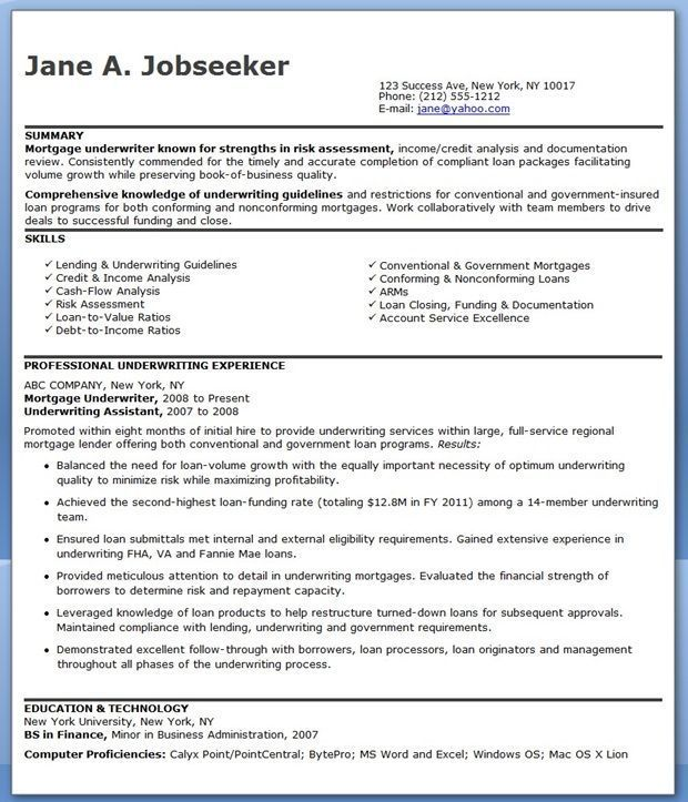 Mortgage Underwriter Resume Examples Engineering Resume Resume Examples Underwriting